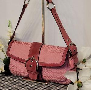 Coach Soho Shoulder Bag Pink Jacquard Leather 1463